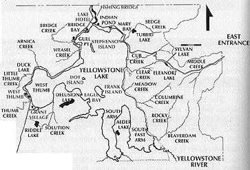 Yellowstone Fly Fishing - Yellowstone Lake Map